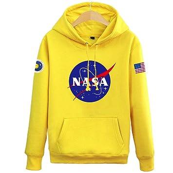 QYS NASA Space Rocket Moon Space Astronaut Novedad Negro Hombres Mujeres Sudadera con Capucha Unisex Sudadera