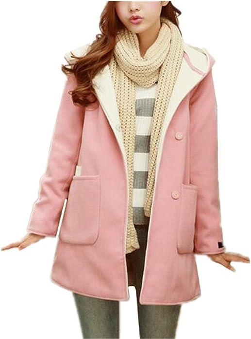 AILIENT Duffle Coat Largo Mujer Elegante Manga Larga Outwear Hipster Top Abrigos Vintage Coat Outwear con Capucha