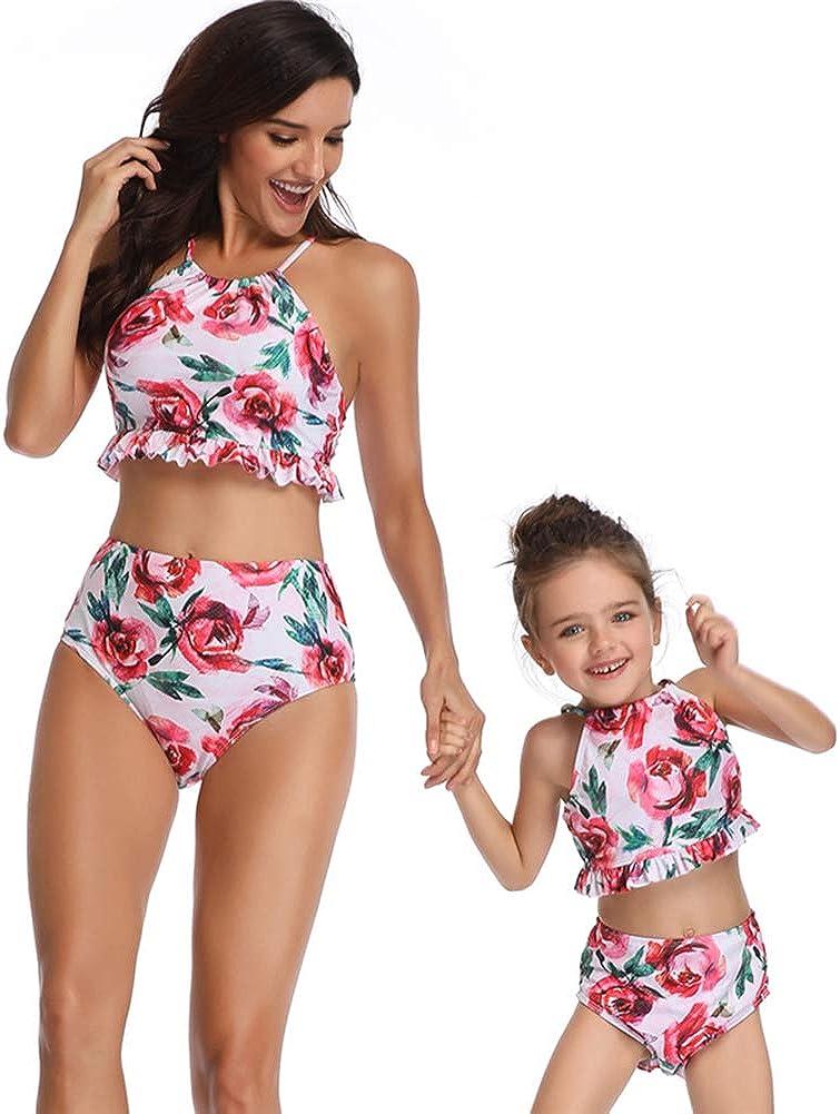 Family Matching Swimsuits Toddler Baby Girl Swimwear Mommy and Me Bikinis Women Beachwear 2Pcs Floral Bathing Suit