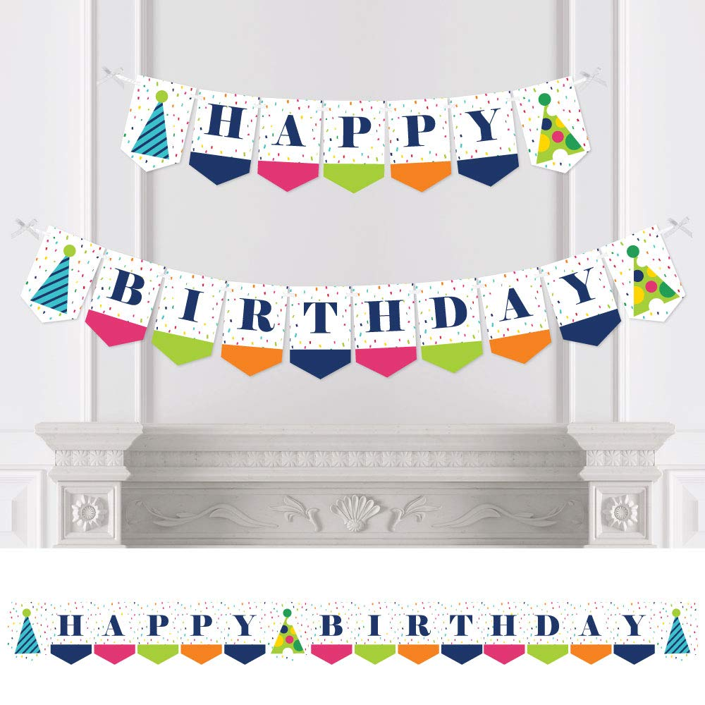 Big Dot of Happiness Cheerful Happy Birthday Colorful Birthday Party Bunting Banner Happy Birthday Birthday Party Decorations