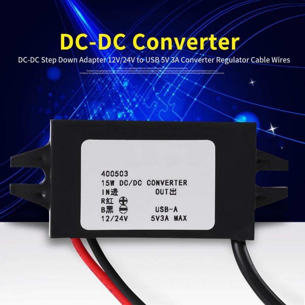 TOPINCN Alimentation Step-Down DC-DC Protection de s/écurit/é Intelligente de 12/V//24/V vers USB 5/V 3/A r/égulateur Fil pour c/âbles 1PZ