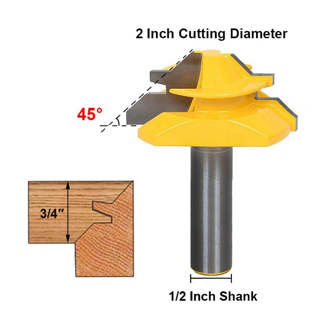 1/2 Inch Shank 45 Degree Lock Miter Router Bit 3/4 Inch Stock Joint Router Bit Woodworking CutterTool