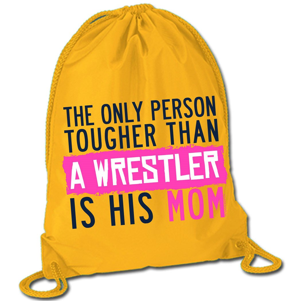 Tougher Than A Wrestler Mom Cinch Sack | Wrestling Bags by ChalkTalk SPORTS | Yellow by ChalkTalkSPORTS