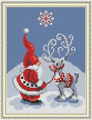 Cross Stitch Stamped Kits 11CT 9X11 inch Christmas Gift Pre-Printed Cross-Stitching Starter Patterns for Beginner Kids or Adults, Embroidery Needlepoint Kits Santa Claus Christmas Deer