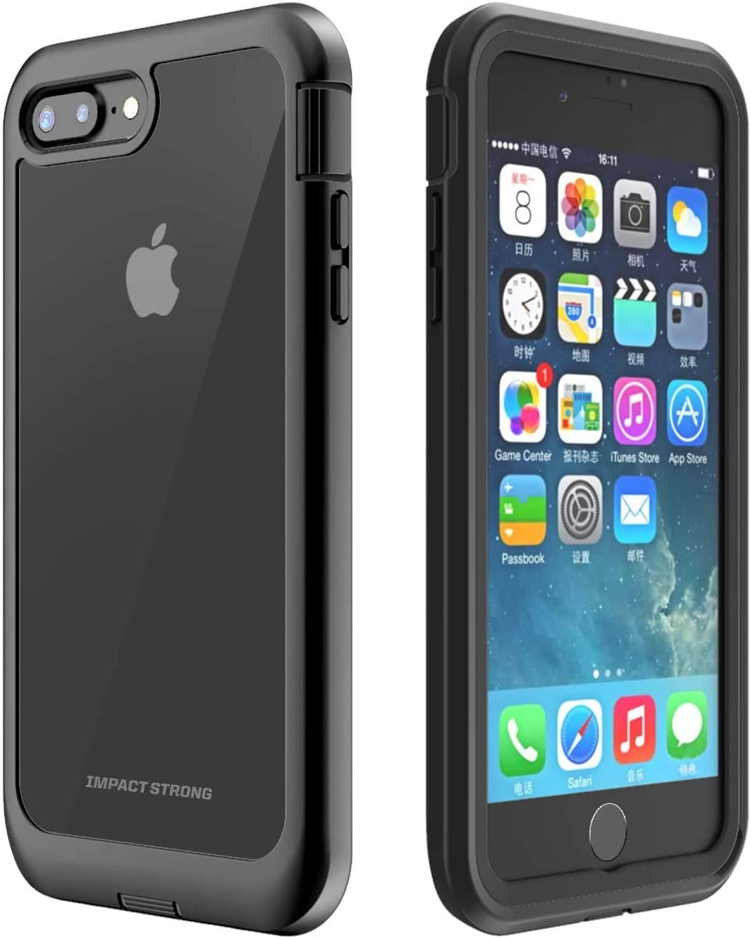 ImpactStrong iPhone 7 Plus/iPhone 8 Plus Case, Ultra Protective Clear Case with Built-in Clear Screen Protector Full Body Transparent Cover for iPhone 7 Plus/iPhone 8 Plus (Clear)