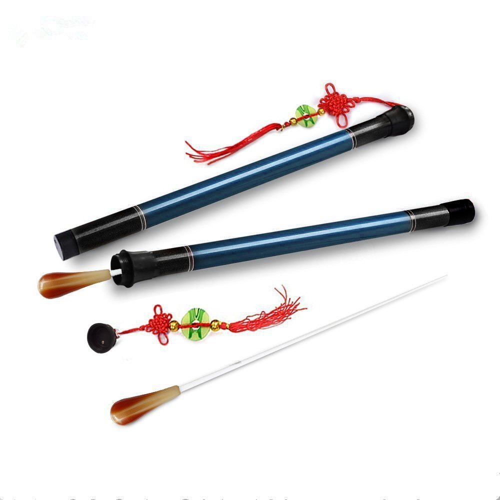 Aibay1 Pair 15'' Music Conductor Baton with Brown Imitation Agate Handle