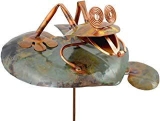 product image for Modern Artisans American Made Copper Frog on Lily Pad Outdoor Sculpture & Garden Stake
