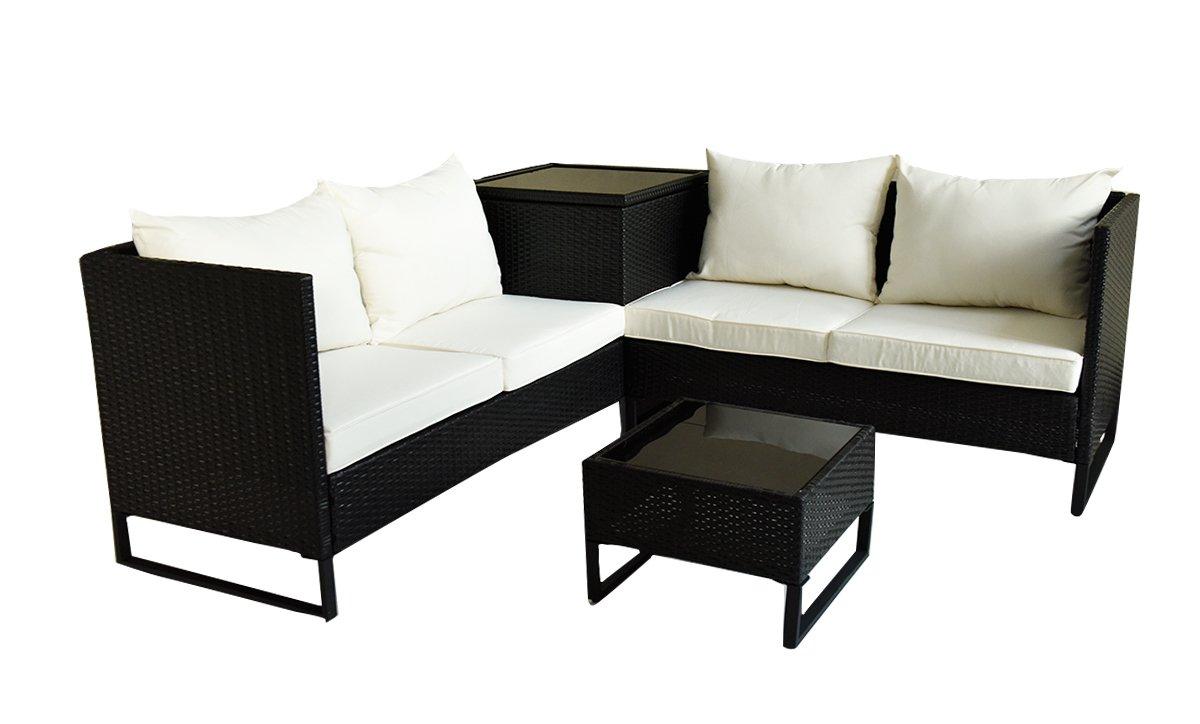 BeAllure Outdoor Furniture Waterproof Modern Rattan Wicker Table Sofa 4PC Set