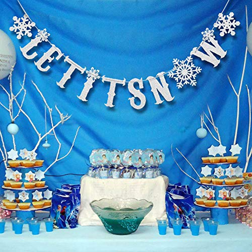 Christmas Snowflakes Banner Kit Silver Glitter Let It Snow Garland For Winter Holiday Merry Christmas Party Decoration