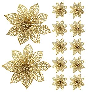 Turelifes 12 Pcs Glitter Artificial Poinsettia Flowers Christmas Tree Ornaments Xmas Floral Decorations 5.9''(15cm) Diameter 90