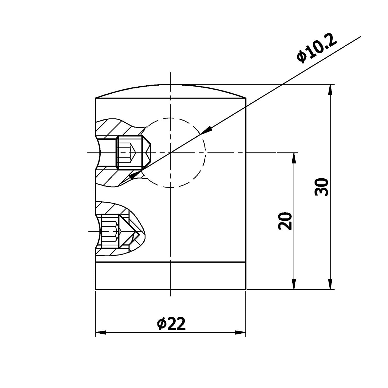 Querstabhalter Traversenhalter rechtes Endst/ück Edelstahl /Ø 22 mm f/ür 12 mm Ausf/ührung Flach
