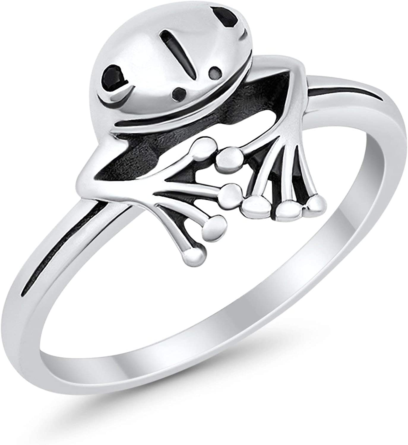 Blue Apple Co. Frog Ring Peeping Frog Band Oxidized Solid 925 Sterling Silver