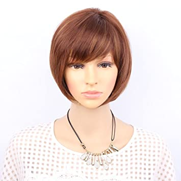 Natural Wigs Straight Synthetic Hair Wig Cosplay Short Heat Resistant Bob Blonde Brown Mixed Color Ombre