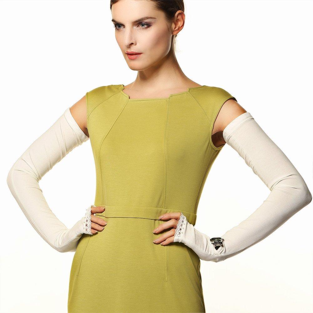 Warmen Women's SPF 50+ Super Long Fingerless Anti-uv Sun Block Sleeves (One Size, White)