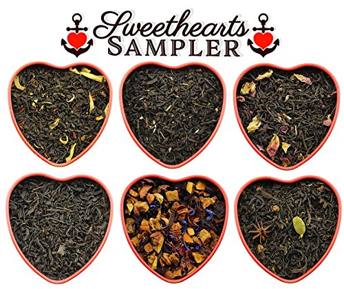 Sweetheart Loose Leaf Tea Sampler Assortment in Red Heart Tins w/6 Varieties of Tea Including Masala Chai, Vanilla Black Tea, Passion Peach Tea, Rose, Raspberry & More, Tea Gift Set - Approx 90+ Cups - Sweetheart Rose Cup
