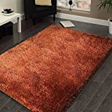 Dark Orange Rust Shag Area Rug 5×7 High End Designer Quality Flokati Medium Pile Soft Iridescent Fluffy Ultra Plush Living room Bedroom 2015 SOSR Review