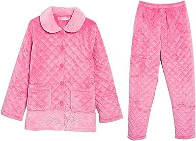 Pijamas de Mujer Pijamas De Invierno De Mujer Algodón Grueso De Manga Larga, Pijamas Calientes, Pijamas De Confort For El Hogar: Amazon.es: Ropa y accesorios