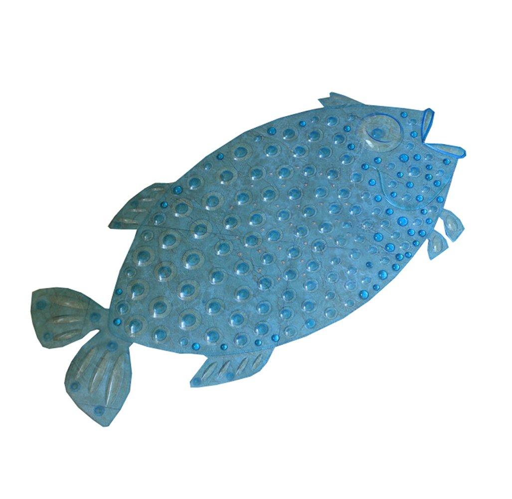 Peacewish PVC Cute Bubble Fish Anti-Slip Safety Shower Tub Bath Shower Mat Massage Pad (Blue)