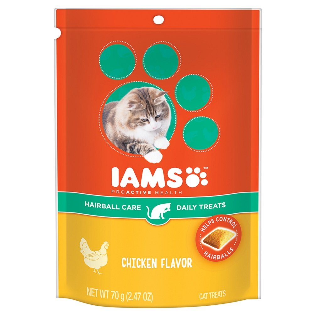 Iams PROACTIVE HEALTH Hairball Care Daily Treats for Cats Chicken Flavor 2.47 Ounces (Pack of 10)