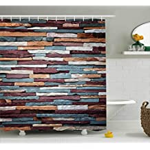 Wall Shower Curtain by Ambesonne, Abstract Background of Colored Stone Surface Retro Style Urban House Brick Design, Fabric Bathroom Decor Set with Hooks, 75 Inches Long, Mauve Teal and Ivory