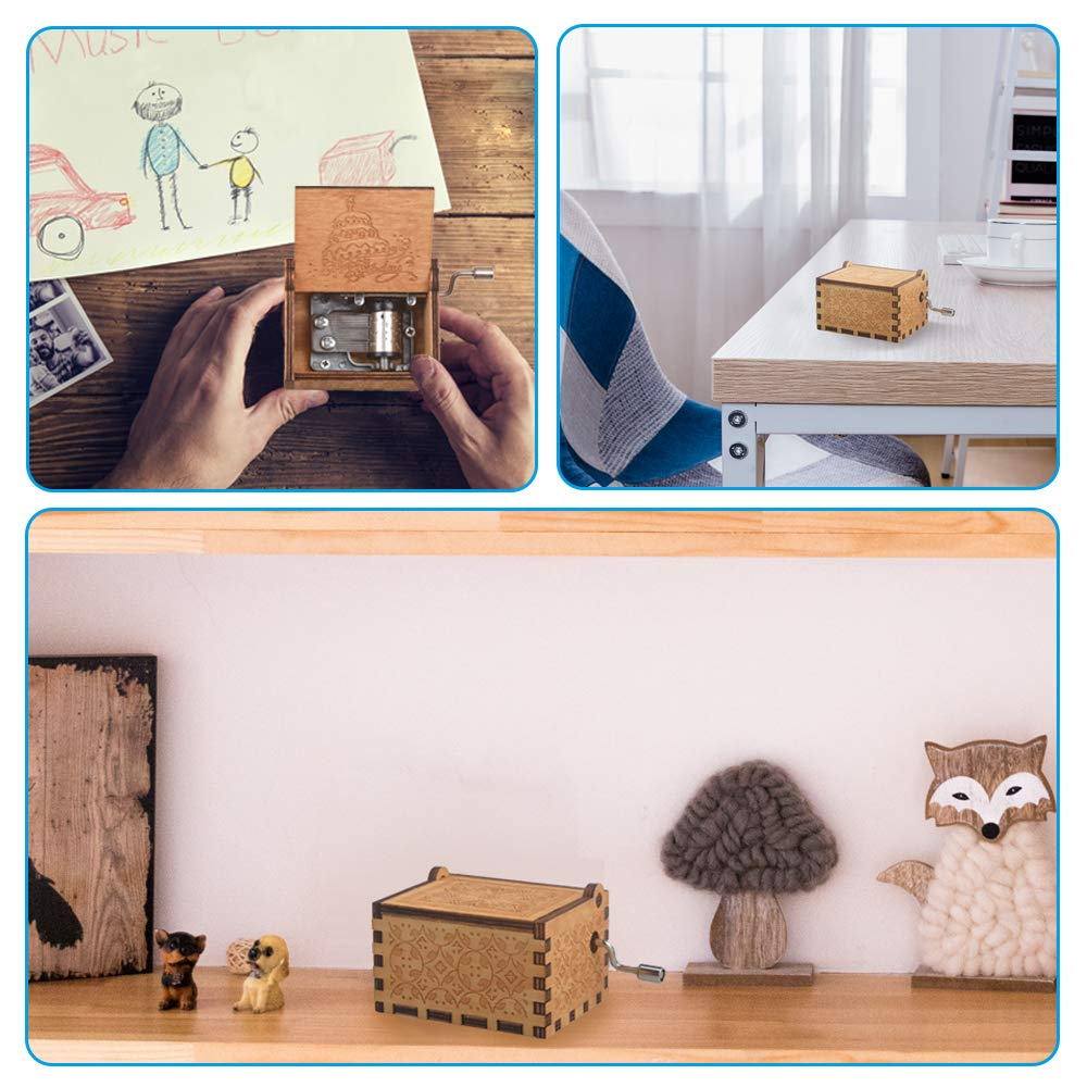 CITOY Hand Cranked Wooden Music Box for Your Love Best Gift