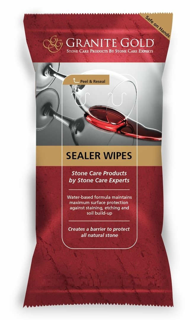 Granite Gold Sealer Wipes-Water-Based Stone Sealing to Preserve and Protect Countertops – 6 Count