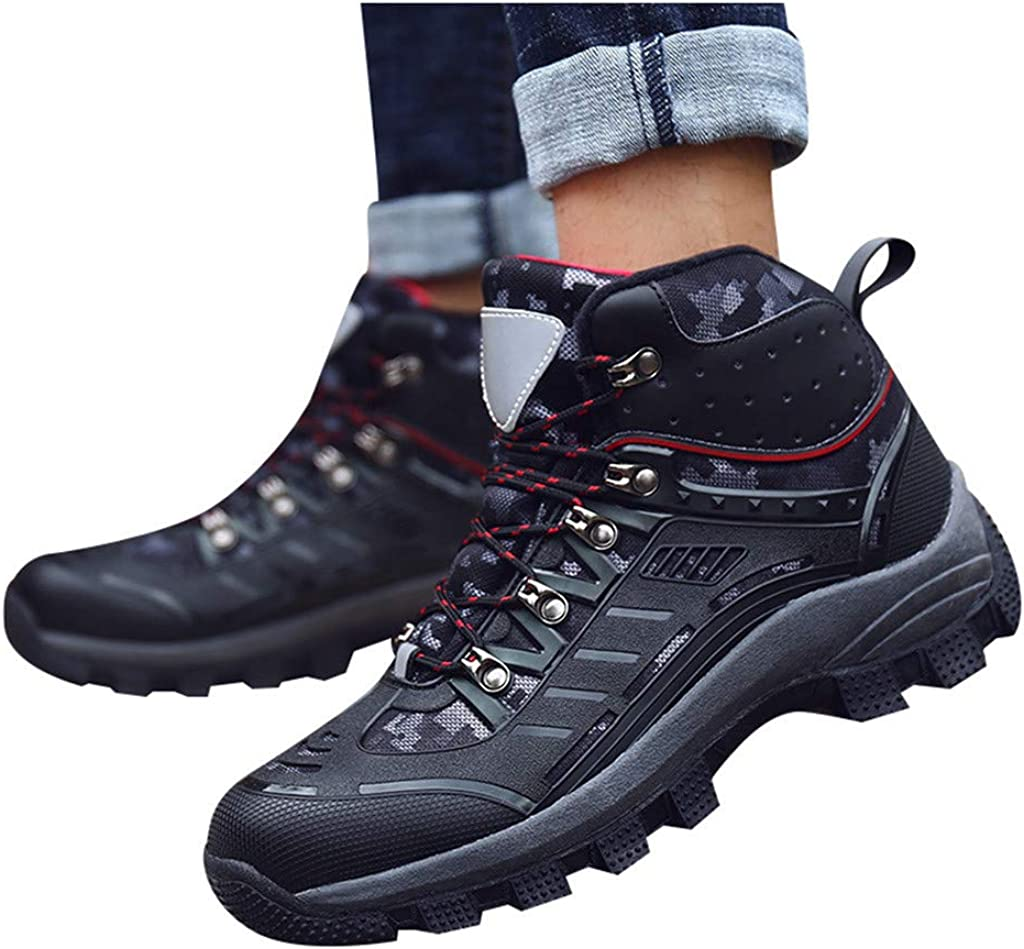 Mens Fashion Warm High-Top Outdoor Boots Reflective Walking Shoes Foot Shoes