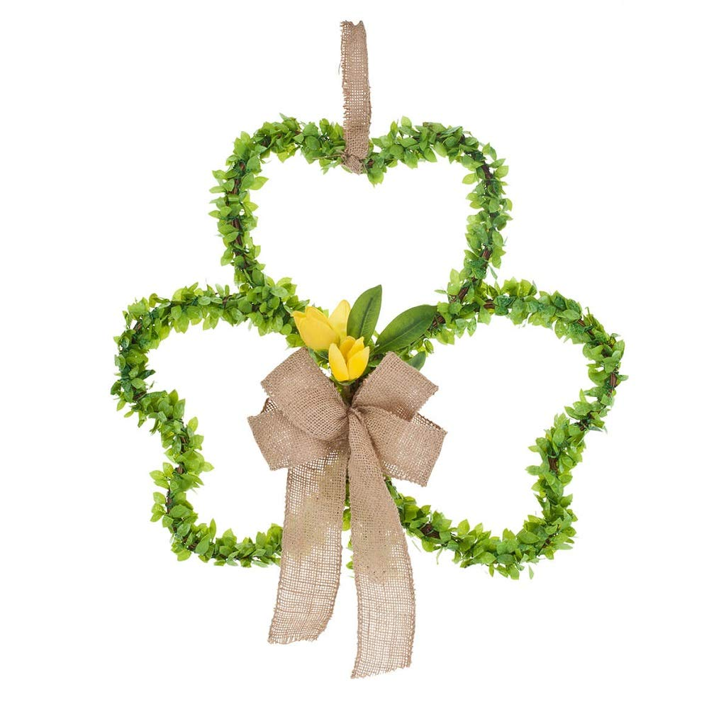 MS Home Artificial Shamrock Inspired Design Green Wreath with Flowers Surrounding Edge, 14'' W x 13'' H
