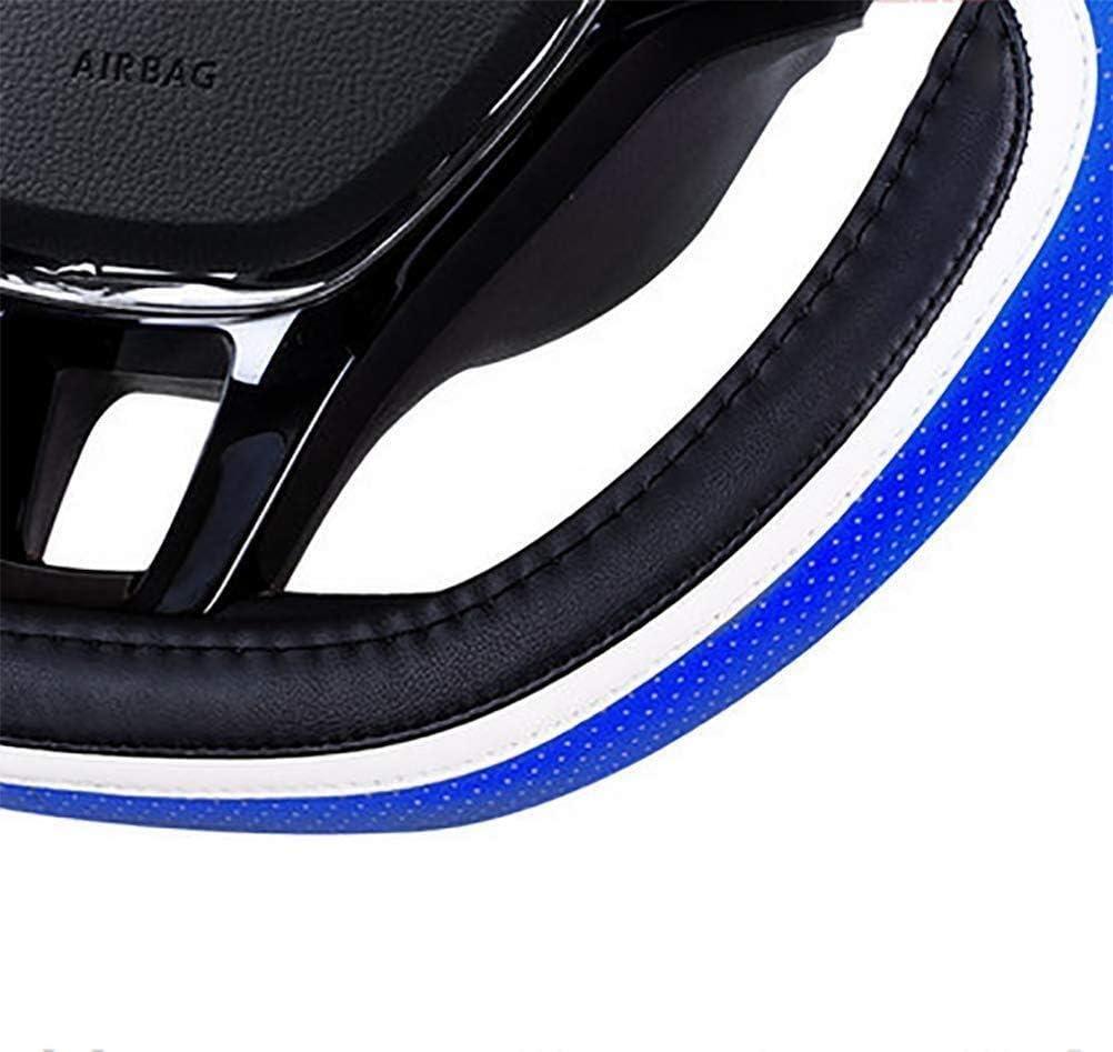 Verbesserte Sicherheit atmungsaktiv rutschfeste Color : Blue ZH~K LENKRADH/üLLEN Sport-Art-Auto-Lenkrad Abdeckungen- D Form Universal-15-Zoll-PU-Lenkrad-Abdeckung