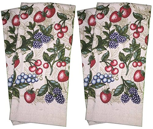 Set of 4, 100% Cotton Everyday Basic Printed Terry Kitchen Towels Size : 15'' x 25'' - Mix Fruit
