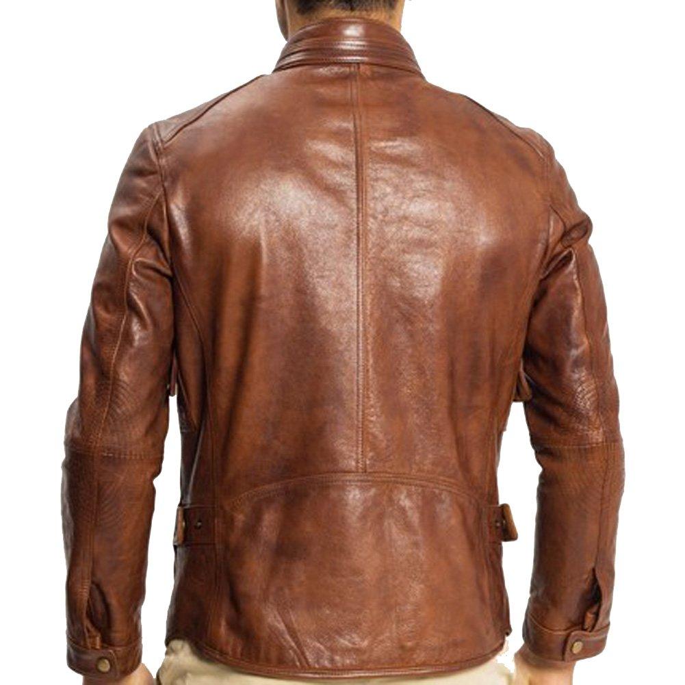 Amazon.com: Vaca de piel chamarra para hombre Outerwear ...