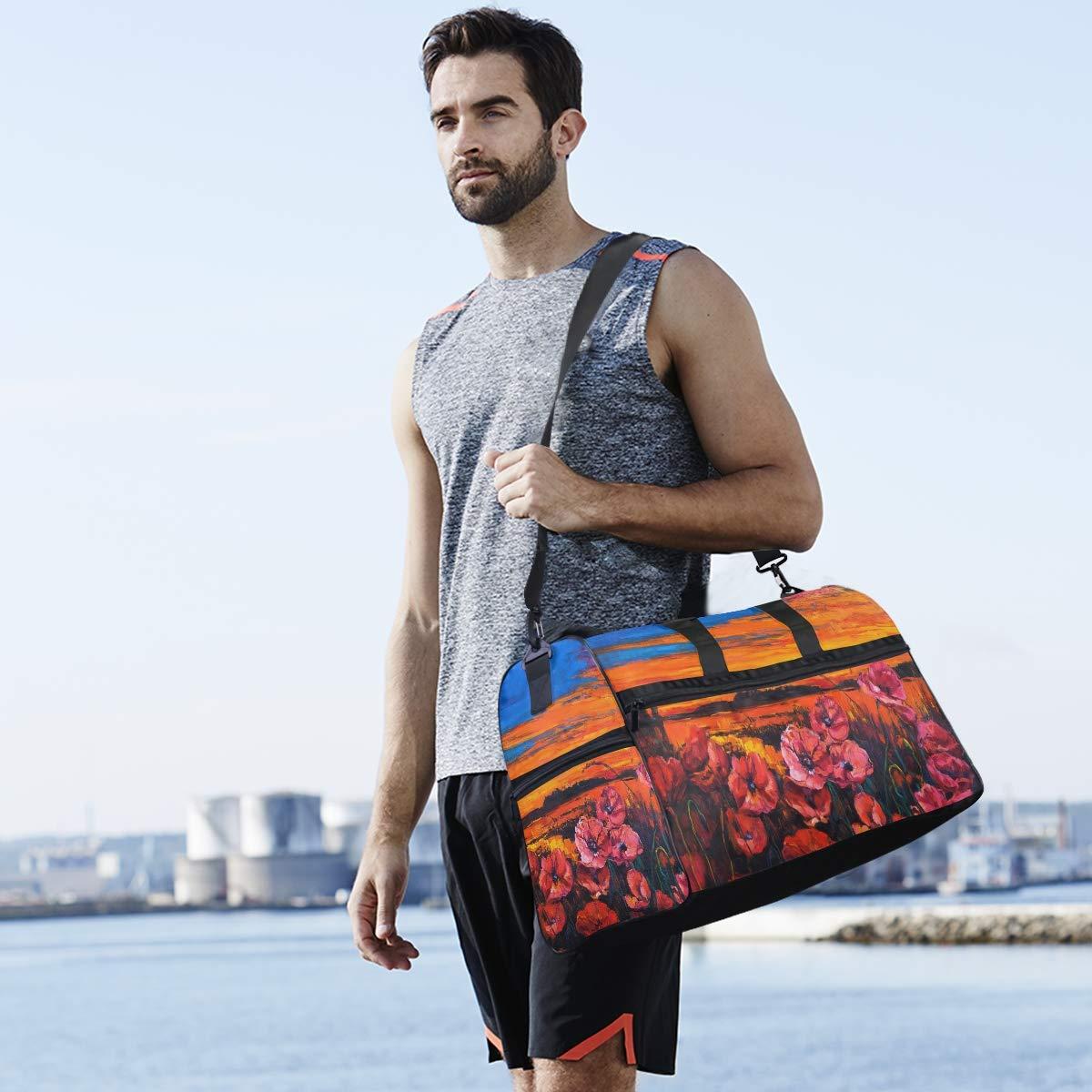 Gym Vacation Travel Duffel Bag Poppy Fields Waterproof Lightweight Luggage bag for Sports