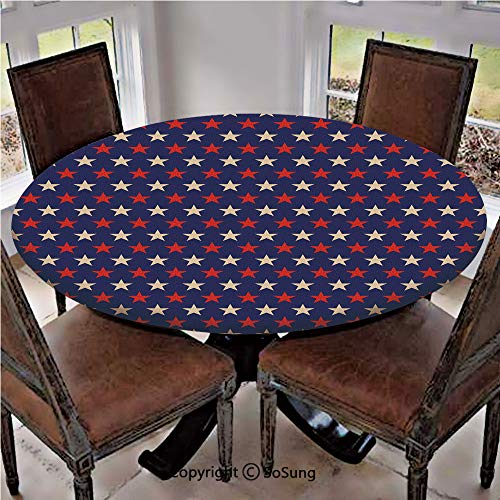 - Elastic Edged Polyester Fitted Table Cover,Vintage Patriotic True Blue Home Country My Land Birthday Retro Artsy Pattern,Fits up 45