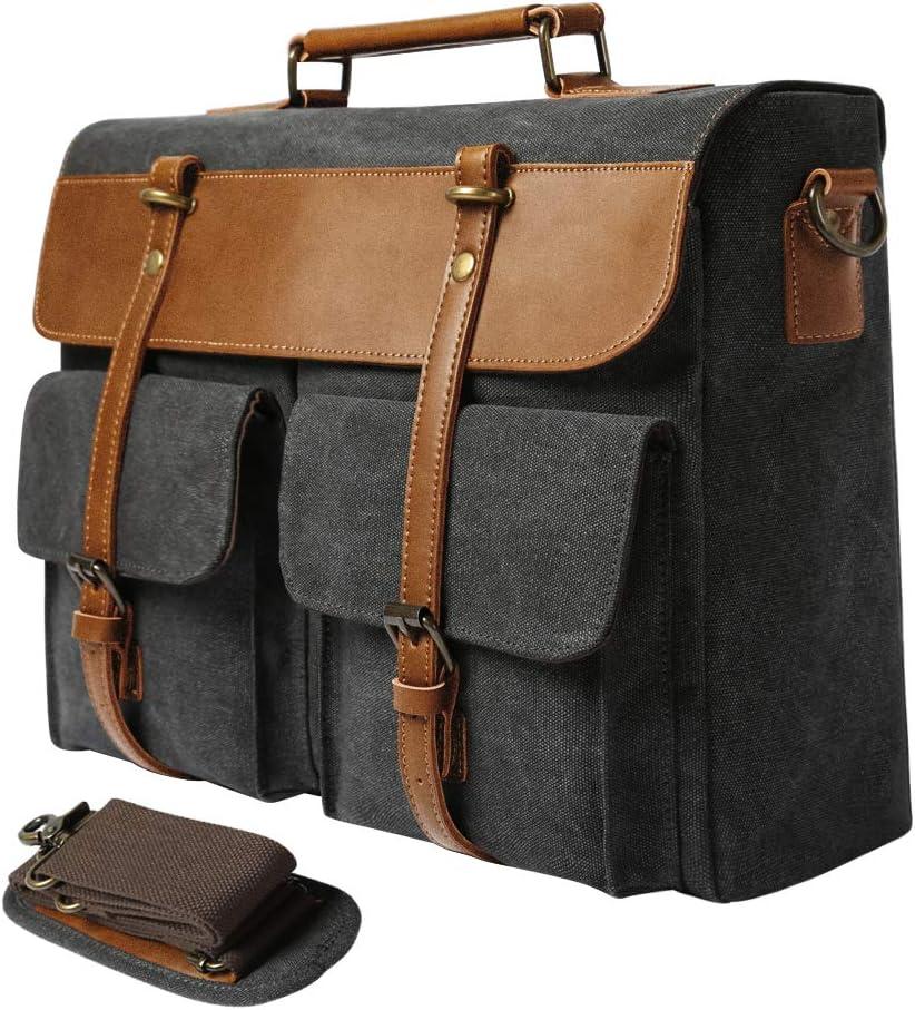 G FAVOR Aktentasche Umhängetasche Laptoptasche 15,6 Zoll, Canvas Messenger Bag Handtasche Business Laptop Schultertaschen für Herren Damen
