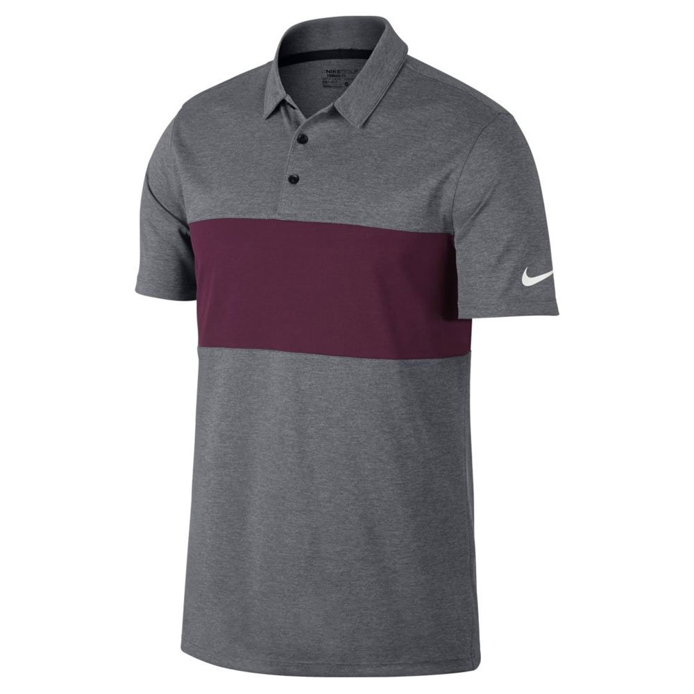 Nike Breathe Color Block Golf Polo 2017 Carbon Heather/Bordeaux/White Small