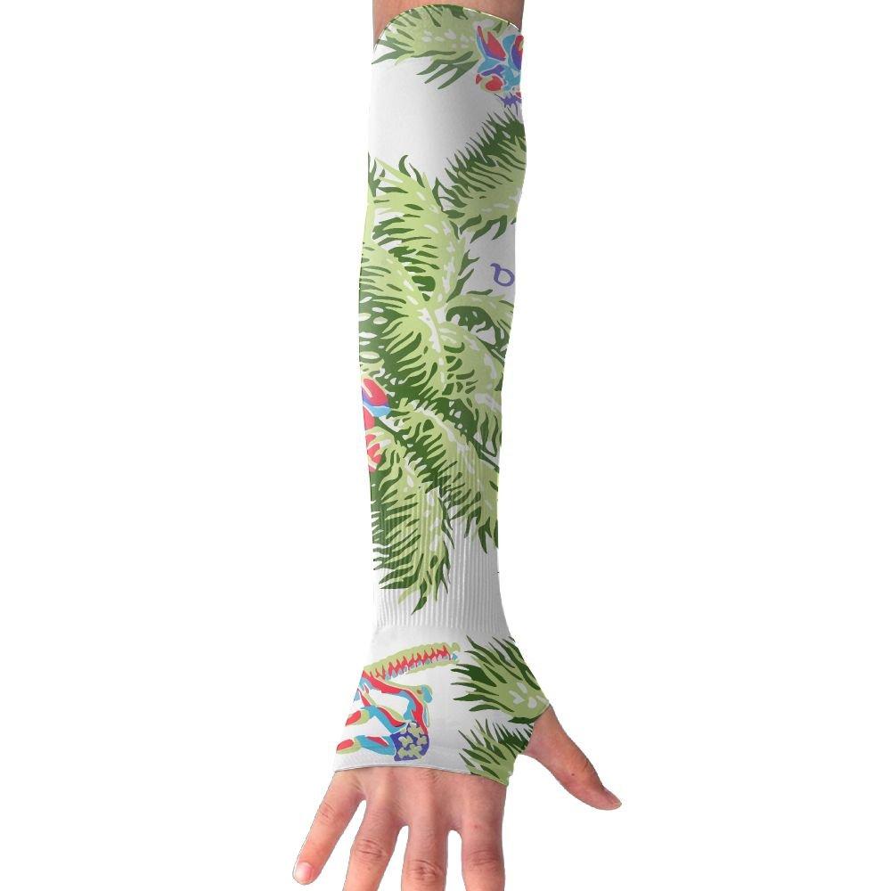 Unisex Aloha Hawaii Style Palm Tree Sense Ice Outdoor Travel Arm Warmer Long Sleeves Glove