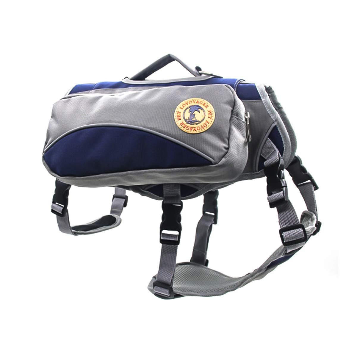 WXJHA Dog Self-Use Backpack, Out of The Portable Detachable 2-in-1 Dog Harness and Hiking Dog Backpack for Outdoor Use Gear Travel Camping,Blue,M by WXJHA
