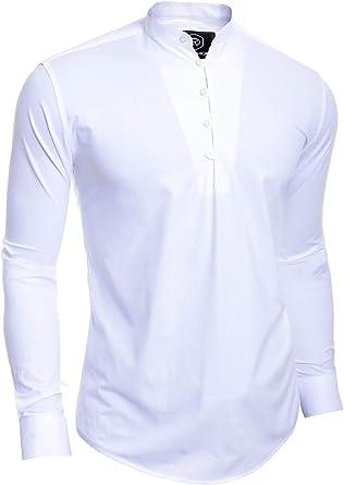 Camisa de Hombre Henley Manga Larga Casual Collar de pie Bucles de Botones: Amazon.es: Ropa y accesorios