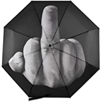 Folding Novelty Middle Finger Umbrella The Rain Umbrella Birthday Christmas Gift, Black