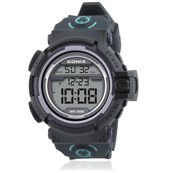 Hombre Cronómetro digital,Reloj deportivo Led 100m resistente al agua Luminoso Calendario 24 horas instrucción