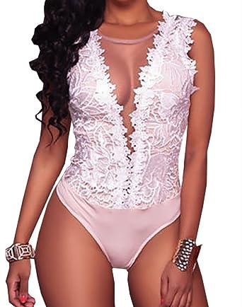 Carolilly Combinaison Jumpsuit Dentelle Femme Eté sans Manches Col V Dos Nu  Transparent Noir Blanc  Amazon.fr  Vêtements et accessoires 388c0164400