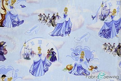 Disney Classic Princess Cinderella Key Light Blue Quilting Cotton Fabric YARD