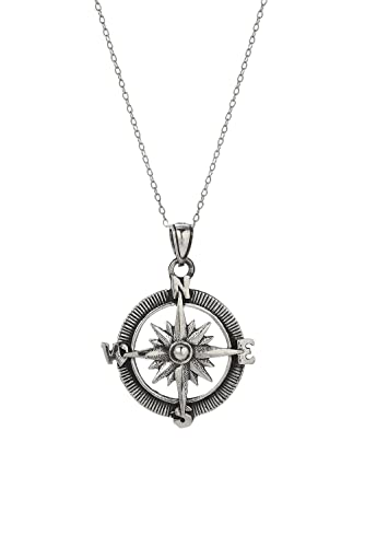Amazon sterling silver antique point the way compass pendant sterling silver antique point the way compass pendant necklace 18 aloadofball Choice Image