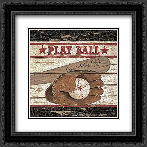 - Play Ball 15x15 Black Ornate Frame and Double Matted Art Print by Spivey, Linda