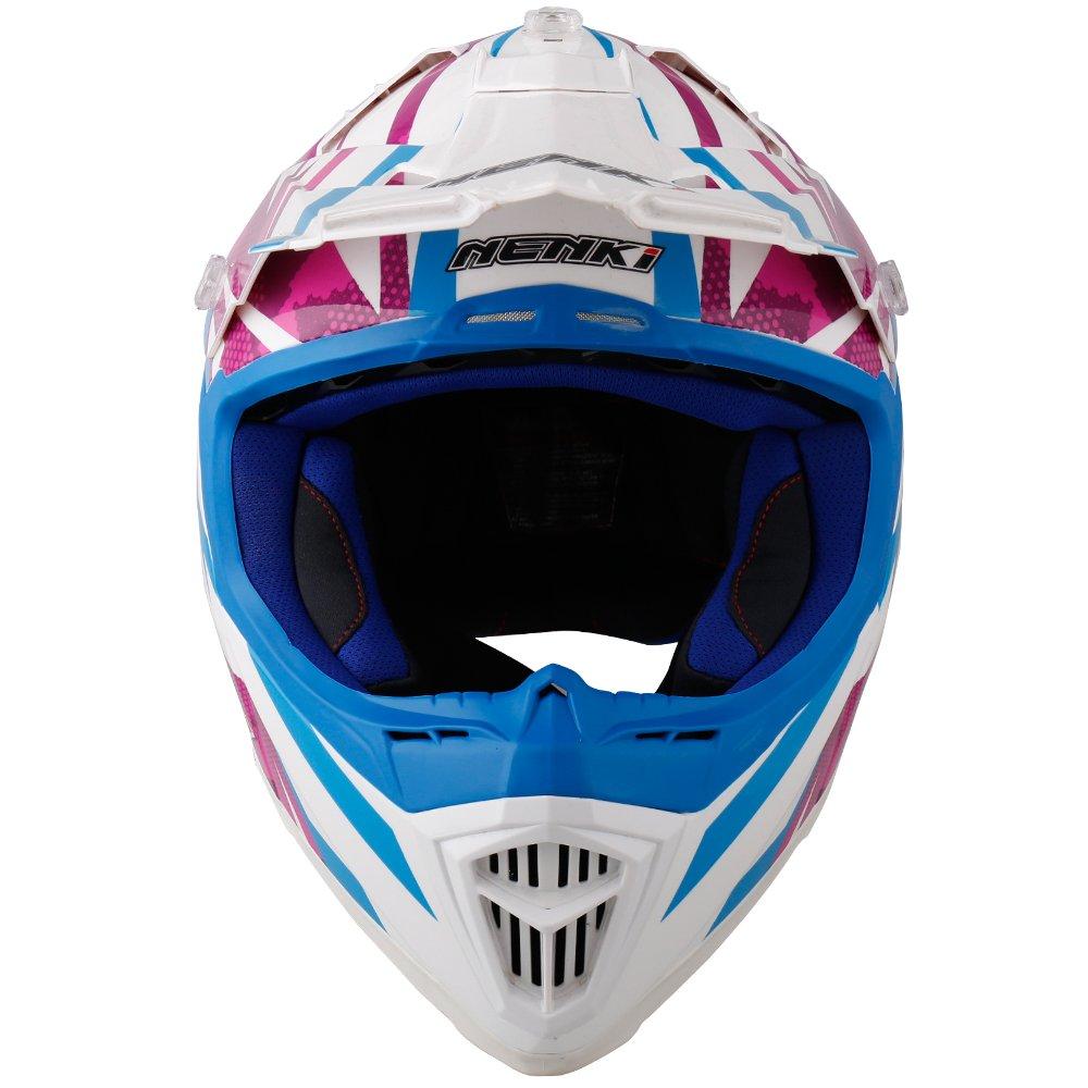 Black Orange White, M NENKI NK-315 Cascos de motocicleta y cascos de motocross para hombres y mujeres aprobados por ECE