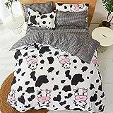 Kids Girls Cartoon Duvet Cover Set Full Cow Print
