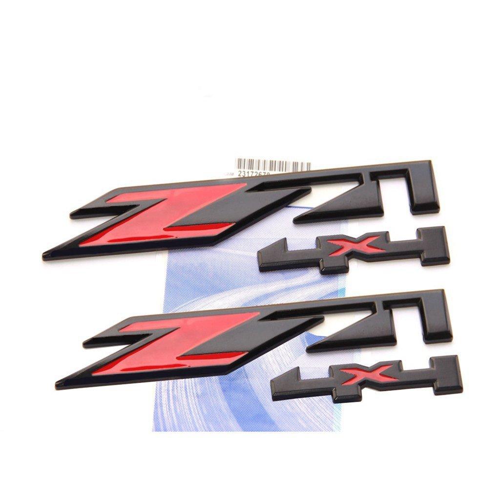 Yoaoo® 2x OEM Black Red Z71 4x4 Emblems Badges for GMC Chevy Silverado Sierra Tahoe Suburban 1500 2500hd 3500hd Decal