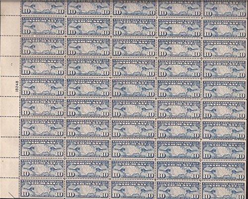 US Stamp 1926 10c Map & Mail Planes Airmail 50 Stamp Sheet #C7 (Mnh Map)