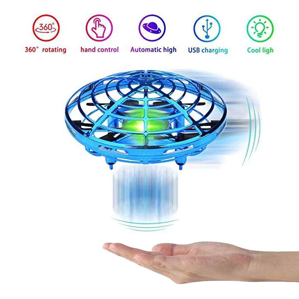 HYSBeauty UFO Flying Ball Toys, Gravity Defying Hand-Controlled, UFO Drones Toys, Infrared Induction Interactive Drone Indoor Flyer Toys with 360°Rotating & LED Lights for Kids, Boys & Adults(Blue) by HYSBeauty (Image #6)