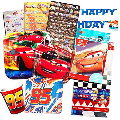 Cheap Disney Cars Party Supplies (Disney Cars Party Supplies Ultimate Set -- Dessert Plates, Napkins, Table Cover, Favor Bags and More (Disney Cars Party)